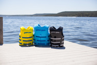 Soft, durable, comfortable, easy-to-clean, vinyl-coated, closed-cell foam vest for the entire family. Features automatic slot-back size adjustment and Kwik-Snap Buckles. USCG Approved vinyl coated, closed-cell foam life vests in sizes for the entire family. Keep your loved ones safe on the water! NOW AVAILABLE IN BLACK!