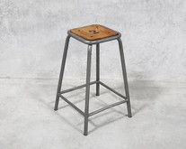Industrial Crank Stool Cast Iron Adjustable Stool