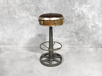 Steam Punk Drummers Bar Stool Leather Seat