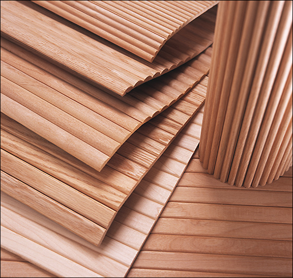 Solid hardwood tambour sheets available in three distinct profiles.