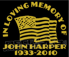USA Stars & Stripes In Loving Memory Of... 2 Memorial decal Sticker