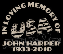 USA Stars & Stripes In Loving Memory Of... 4 Memorial decal Sticker