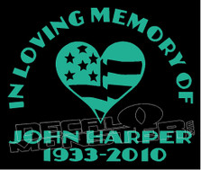 USA Stars & Stripes In Loving Memory Of... 5 Memorial decal Sticker