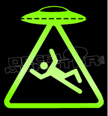 Aliens UFO Beam Up Dude Decal Sticker