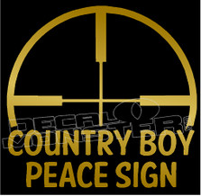 Crosshair Country Boy Peace Sign Decal Sticker