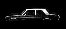Datsun 510 Bluebird 2-door Sedan, Classic Silhouette Decal Sticker