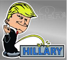 Trump Pisses On Hillary Decal Sticker