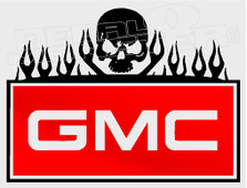 GMC Trucks Tribal Skull Flames Decal Sticker