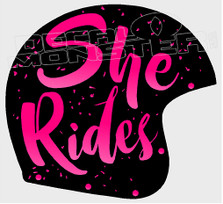 She Rides Motorcycle Helmet Decal Sticker