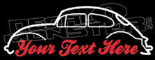 Custom YOUR TEXT Classic VW BEETLE Type 1 Air Cooled Volkswagen Car Stickers Decal Sticker