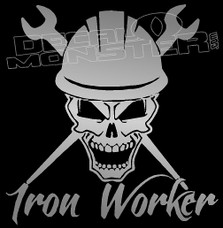 Iron Worker Skull Trades Decal Sticker