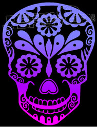 Sugar Skull Floral Decal Sticker