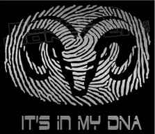 Ram Its In My DNA Finger Print Decal Sticker