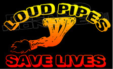 Loud Pipes Save Lives Manifold Flames Decal Sticker