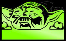 Happy Yoda Silhouette 1 Decal Sticker