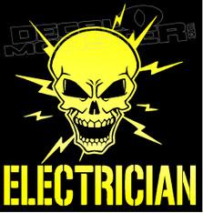 Certified Electrician Skull Decal Sticker