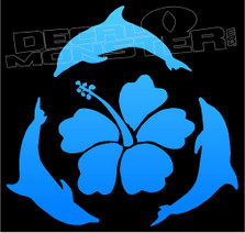 Hawaiian Dolphins Silhouette 7 Decal Sticker
