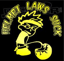 Calvin Helmet Laws Suck Motorcycle Decal Sticker