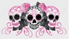 Rose Tribal Patterned Skulls Decal Sticker
