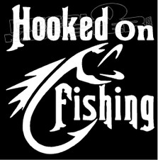 Hooked on Fishing Tribal Decal Sticker