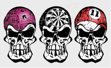 Three Helmet Skulls Bowling Darts Pool Silhouette Decal Sticker