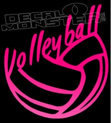 Volleyball Script Silhouette Decal Sticker