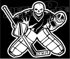 Skeleton and Goalie Pads Hockey Decal Sticker