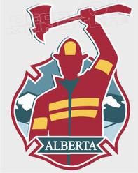 Proud Albertan Fire Fighter Decal Sticker