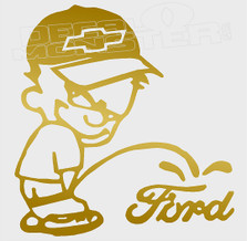 Chevy Boy Calvin Pees on Ford Decal Sticker