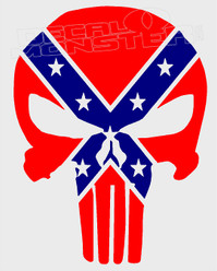 Confederate Punisher Decal Sticker