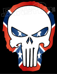 Confederate Outlined Punisher Decal Sticker