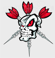 Dart Addict Skull 1 Sports Decal Sticker