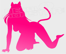 Cat Woman Silhouette Naughty Decal Sticker