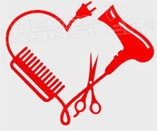 Hairstylists Heart Decal Sticker