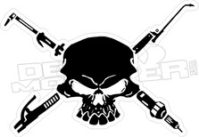 Welder Torch Skull Cross Bones2 Decal