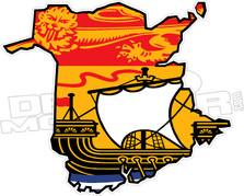 New Brunswick Flag Provincial Outline Decal DM