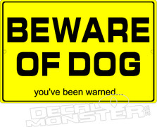 Beware of Dog Pet Decal DM