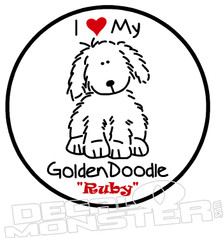 I Love My Golden Doodle Pet Decal DM