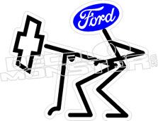 Ford From Behind Chev Decal Sticker