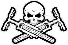 Mountain Bike Skull Cross Bones Decal Sticker