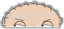 Stewie Peak A Boo Decal Sticker