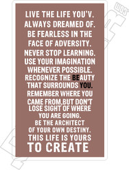 Live Life Dreamed Of Decal Sticker