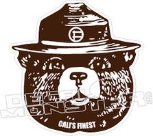 Smokey The Bear Calis Finest Decal Sticker