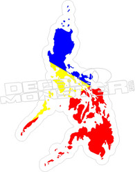 Philippines Country Shape Flag Decal Sticker