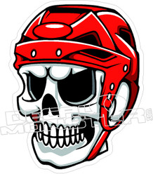Hockey Player Skull Decal Sticker