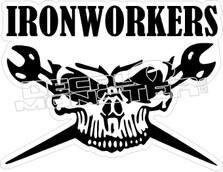 Ironworkers Skull Wrenches Decal Sticker
