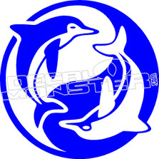 Dolphin Ying Yang Decal Sticker