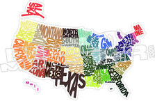 USA States 52 Decal Sticker