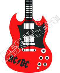ACDC Electric Guitar Decal Sticker