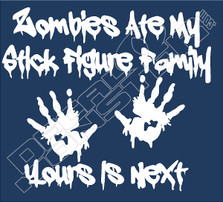 Zombies Ate Stick Family 51 Decal Sticker